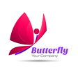 Butterfly colorful logo template with shadow on vector image vector image
