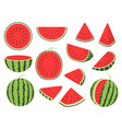 cartoon slice watermelon green striped berry with vector image