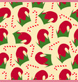 christmas seamless pattern with elf hats vector image