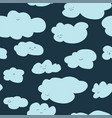 cloud character with smiling face seamless pattern vector image