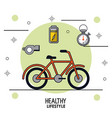colorful poster of healthy lifestyle with bicycle vector image vector image