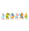 cool animals skating and skateboarding collection vector image