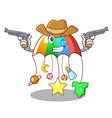 cowboy character hanging toy attached to cot vector image