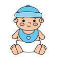 cute little baby boy with bib isolated icon vector image vector image