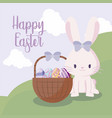 cute rabbit female and basket with eggs of easter vector image vector image