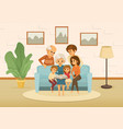 family holidays cartoon colored composition vector image