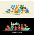 Flat design seaside travel vacation banners set vector image
