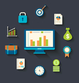Flat icons concepts for business finance strategic vector image
