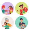 four icons with flowers and people on womens day vector image vector image