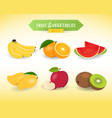 fruit vegetable in minimal style set 1 vector image