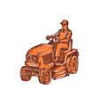 Gardener Ride-On Mower Etching vector image vector image