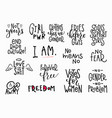girl power shirt quote lettering set vector image vector image