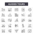 guided tours line icons signs set vector image vector image