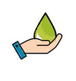 hand with ecological drop to environment care vector image vector image