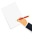 hand writing something on the paper sheet vector image vector image