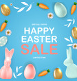 happy easter sale poster template with 3d vector image vector image