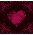 heart in curls on a black vector image