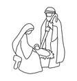 joseph mary and bajesus sketch vector image vector image