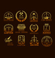 legal center or lawyer juridical gold icons vector image vector image