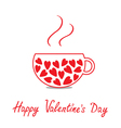 Love teacup with hearts Happy Valentines Day vector image vector image