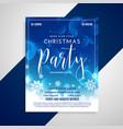 lovely blue shiny christmas flyer design vector image