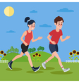 Man and Woman Running in the Hills and Sunflowers vector image vector image