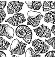 marine seamless pattern with sketch shells vector image vector image