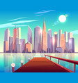 megapolis city architecture view from wooden pier vector image vector image