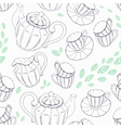 Outline seamless pattern with hand drawn tea vector image vector image