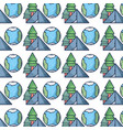 pine trees with earth planet and camp background vector image vector image