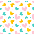 Pink mint green and gold hearts seamless pattern vector image