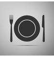 Platefork and knife flat icon on grey background vector image vector image