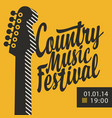 poster for country music festival with guitar vector image vector image