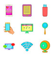present life icons set cartoon style vector image vector image