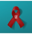 Realistic curved red Ribbon with Stop AIDS Text vector image