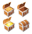 realistic treasure chest wooden 3d antique pirate vector image