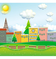 Scene of town with buildings and park vector image