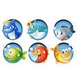 sea animals on round badges vector image