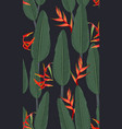 seamless pattern tropical leaves with heliconia vector image vector image