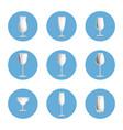 set empty glasses in circles elegant glassware vector image
