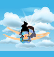 skydiver man and woman flying in the blue sky vector image