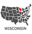 state wisconsin on map usa vector image vector image