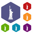 statue of liberty icons set hexagon vector image vector image