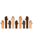 stop racism black lives matter raised up hands of vector image vector image