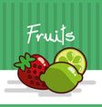 strawberry and lemon fruits fresh juicy collage vector image vector image