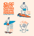 surf badge wave and ocean vintage retro vector image vector image