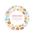 sweets round frame candy cake donut cup tea vector image