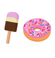 tasty sweet ice cream and doughnut vector image vector image
