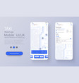 taxi service app on mobile phone different ui ux vector image