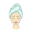 the girl s face with closed eyes and drawn massage vector image vector image